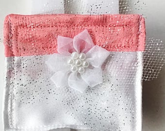 Coral Pink and White Satin Ring Bearer Wedding Pouch for Dog or Cat Collar