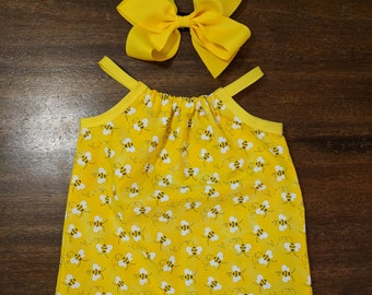 Baby girl's/little girls bumble bee summer shift dress