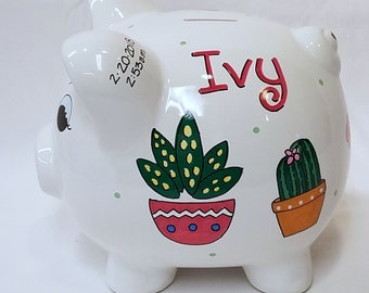 Personalized Piggy Bank with Cactus and Succulents