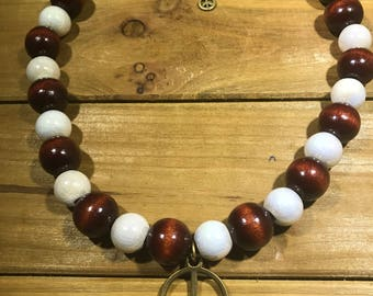 Beaded Necklace with Peace Sign