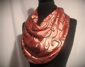 Modern Swirls Burnout Silk Scarf//Large//Grey//Copper//Original//Gift for Her//Metallic