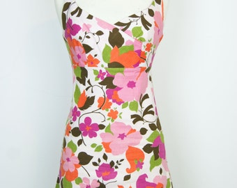 Stunning Vintage 1960s Floral Mini Dress - Size XS - Small