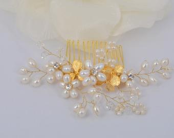 Anya - 18K or plaqué orchidée et eau douce perle Bridal peigne