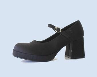 Iconic 90's Vintage Steve Madden Black Satin Block Heel Mary Janes
