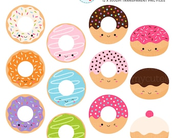 Cute Donuts Clipart Set - clip art set of kawaii donuts, cute donuts, doughnut, donut - personal use, small commercial use, instant download