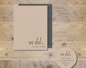 Wedding Thank You Cards . Personalized Wedding Cards .  Wedding Thank You Notes . Rustic . Recycled - We Did