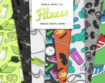 Fitness Digital Paper Pack, Seamless Pattern, Fitness Texture, Gym Patterns, Workout Pattern, Fitness Paper, Scrapbooking Paper Pack