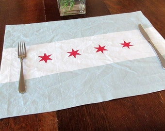 Placemat - Chicago flag inspired