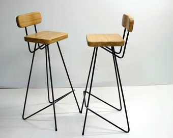 Industrial Bar Stool With Backrest, Pure Oak, Bright Version By Nortre