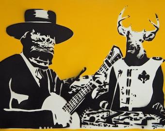 Duo Indomitus Spraypaint stencil