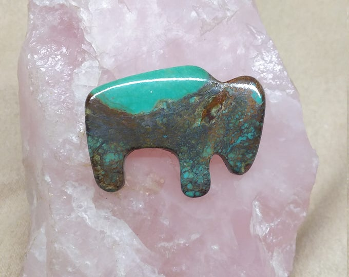 Featured listing image: Pilot Mountain Large Turquoise Buffalo Cabochon/ backed