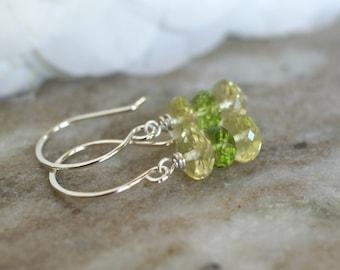 Peridot earrings, lemon quartz earrings, lemon quartz jewelry gift, sterling silver French hook ear wires, bridal earrings