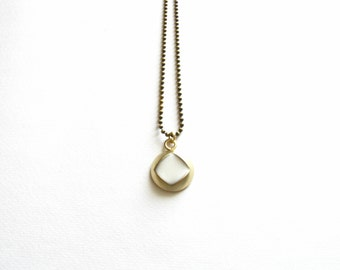 Brass and White Resin Necklace-Inclusion Necklace-Resin Pendant-Gold Pendant Necklace-Modern Jewellery-Contemporary Jewelry