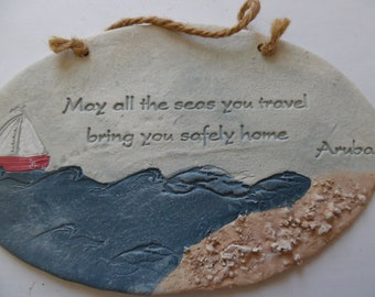 Handmade ceramic plaque. Aruba