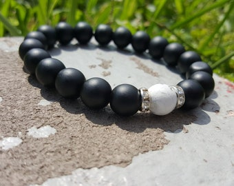 Moon Charged Black and White Beads w/ Crystal/Diamond Bracelets