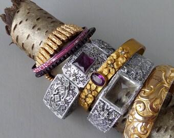 Art Deco Filigree Bracelet with Purple Glass and Brilliants. White Metal.