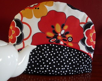 Teapot cozy | Red and black | Flower fabric | Polka dots | Teapot cosy | Floral fabric | Tea pot cozy | Tea pot cover - Ready to ship