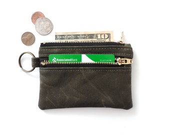 Waxed Canvas Keychain Wallet Coin Purse Double Zipper Pouch Green