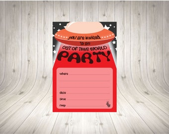Red UFO Party Invitation INSTANT PRINT