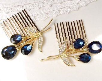 Navy Blue Wedding Hair Comb, 1 or PAIR Clear & Sapphire Rhinestone Gold Bridal Hair Accessory, Navy Hairpiece, Small Vintage Floral
