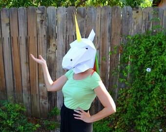 Horse Mask or Unicorn Mask - PDF Pattern | DIY Mask | Low Poly Papercraft | Halloween Mask | Horse Mask | Printable Mask