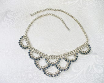 Authentic Vintage Art Deco BLUE and Clear RHINESTONE Bib Necklace - silver tone metal - Hook closure - Unique design - Something Blue bridal