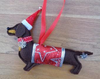 Handmade brown felt Christmas Dachshund, Sausage dog hanging decoration