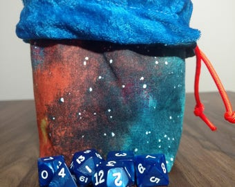 Reversible STARFINDER Dice Bag with Orange Paracord (Inspired by the Core Rulebook Artwork)