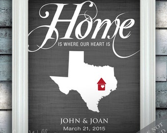Home is where our heart is - Personalized Housewarming Gift - Custom Name State Country Print any Color - Perfect for New Homeowner