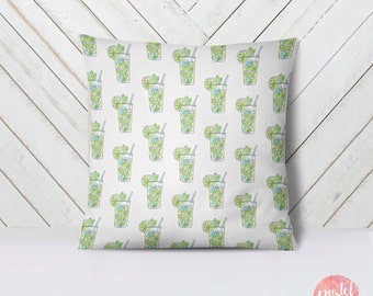 Mojito Cocktail Illustration - Throw Pillow Case, Pillow Cover, Home Decor - TPC1106