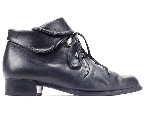 Wide 6 Classy Vintage Boots women Boots US UK Heel Lace Up Fit Retro Boots Leather EUR Autumn 90s Black 37 Casual Boots Ankle Block 4 5 PAwwzqx