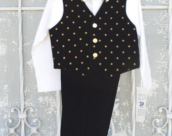 Black Velvet Suit Boy Sizes 6, 7 Vintage new with tags, Gold Stars, Gold Polka Dots, Gold Bow Tie,Velvet Vest,Winter Festive Holiday Wear