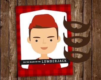 3 SIZES! Pin The Beard On The Lumberjack, Lumberjack Game, Printable Lumberjack Party Game - DIY Printable PDF