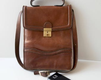 Vintage Brown Leather Briefcase,  Brown Messenger Bag, Men's Handbag, Men's Satchel