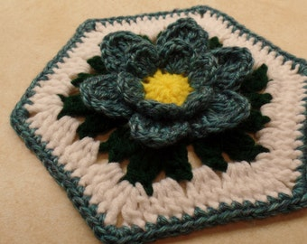 "Crochet 7"" Granny Hexagon Blue Lotus Flower pattern  DIGITAL DOWNLOAD ONLY"