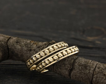 Bubble wedding bands set, Bubble wedding rings, Unique yellow gold bands, His and Her bubble ring, Unusual wedding band, Wedding rings set
