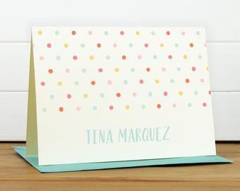 Personalized Stationery Set / Personalized Stationary Set - DOTTIE Custom Personalized Note Card Set - Rainbow Polka Dot Kids Stationery