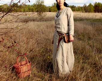SALE! Early Medieval linen underdress gown,Natural color! SIZE S/M,  L, and XL 100% linen. Viking costume, reconstruction.