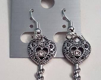 Tibetan Silver Sparkly Key Earrings