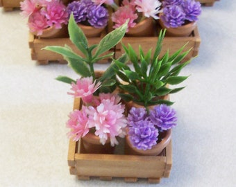 Miniature flower pots with a wooden crate:  Fairy or miniature gardens terrariums doll house decor