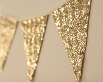 Bachelorette Party, Gold bunting, Gold Garland, Gold Sequin, Bunting, Baby Shower, Nursery Decor