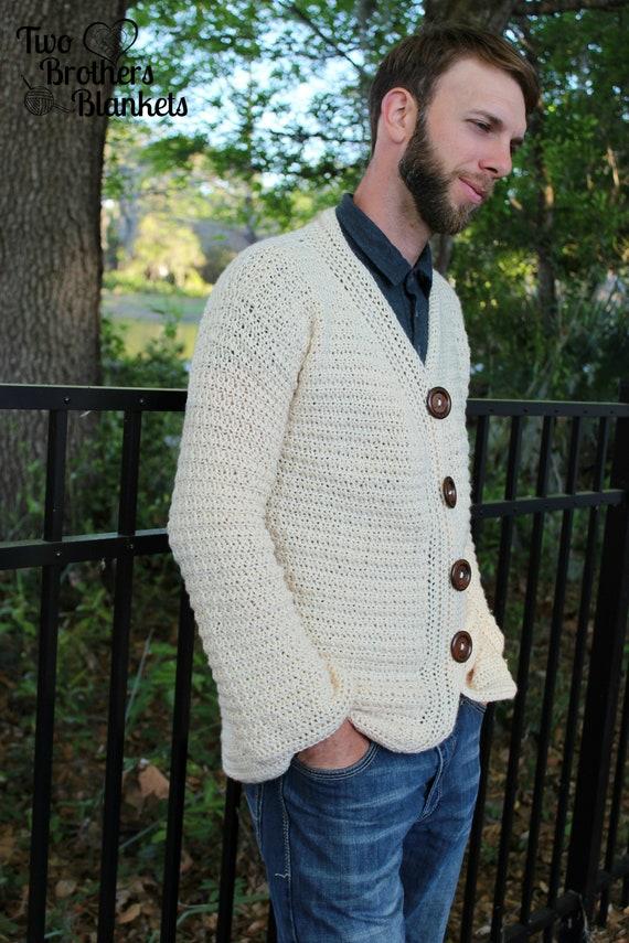 Crochet Pattern Mens Sweater Mens Cardigan Dude Cardigan
