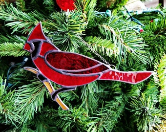 Cardinal stained glass suncatcher, red, bird, ornament, window, home decor, cardinal bird