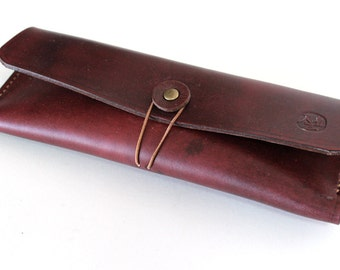 Hand-stitched leather pencil case/ multi-pouch in Hand dyed Mahogany