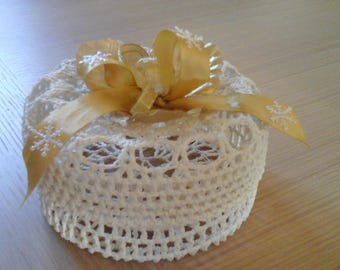 ecru cotton crocheted basket
