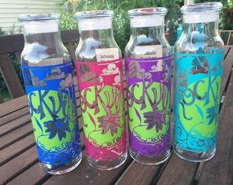 Reusable 22 oz. glass bottle with Rockville, MD GYOR design