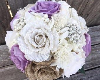 Burlap and Lace Bouquet, Shabby Chic Bouquet, Rustic Bouquet, Lavender Bouquet, Bridal Bouquet, Rustic Wedding Bouquet