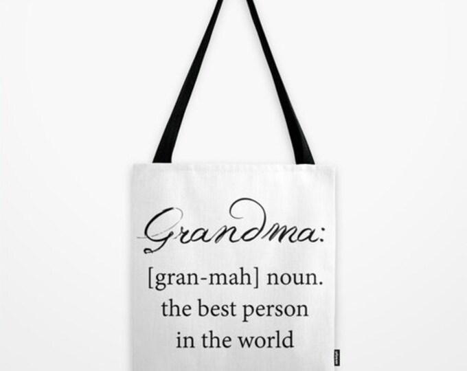 Grandma Tote Bag - Beach Bag - Grocery Bag - Grandma Definition - Black and White - Made to Order