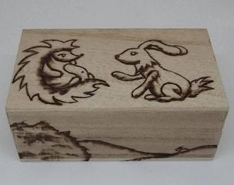 OOAK Pyrograph hedgehog and rabbit box