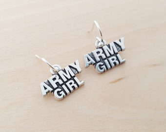 Army Girl Earrings - Military Charm Earrings -  Sterling Silver Earrings - Silver Jewelry - Gift for Her